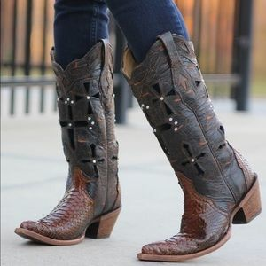 Corral Vintage Musgo Python Cross Western Boots 8M